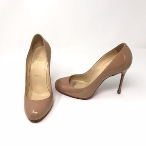 Christian Louboutin Fifille 100 Nude Patent Heels